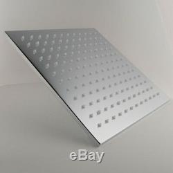 10 Square Temperature Sensor Changing Color LED Showerhead, Polished Chrome
