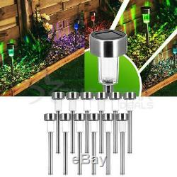 12 Colour Changing Led S/steel Solar Garden Patio Post Outdoor Lights Lanterns