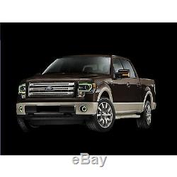 13-14 Ford F-150 Multi-Color Changing Shift LED RGB Headlight Halo Ring M7 Set