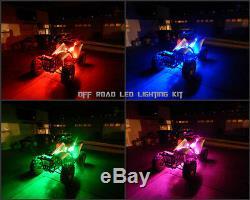 18 Color Changing Led RZR XP 1000 ATV UTV Quad 4Wheeler 10pc Led Neon Glow Kit