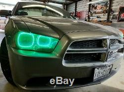 2011 2014 Dodge Charger Color Changing Shift LED RGB Headlight Halo Ring Set