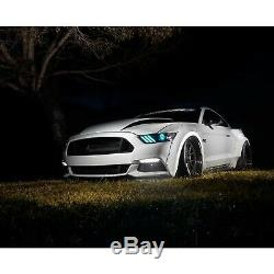 2015-2017 Ford Mustang RGBW Demon Eye LED Multi-Color Changing Headlight DRL Set