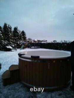 220cm King size Thermowood Fibreglass Hot tub 316ANSI heater + Jacuzzi + LED