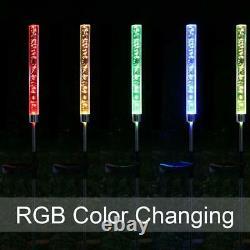 2-Pack Garden Solar Lights Outdoor Solar Acrylic Bubble RGB Color Changing Decor