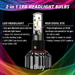 2nd Gen H11 2in1 Bright 6000K LED Headlight Bulbs + Color Changing Devil Eye