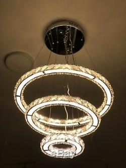 3 Ring Crystal Chandalier With Remote Controll And Colour Changing And Dimmable
