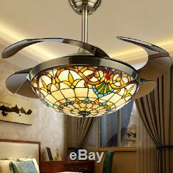 42 Ceiling Fan 4 Blades LED Ceiling Fan Light Remote Control 3 changing color