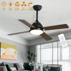 42 Ceiling Fan Light Remote Control Retro Wood Blades/3 Color LED/3 Speed/Timer