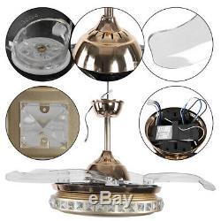 42 Crystal LED Ceiling Fan Color Changing Lights Chandelier & Remote Control UK