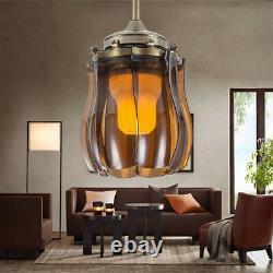 42 Fashion Ceiling Fan Light 3 Color Change LED Chandelier Retractable Remote