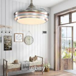 42 Inch Silent LED Ceiling Fan with 3-Color Changing Lights Remote Controlled UK