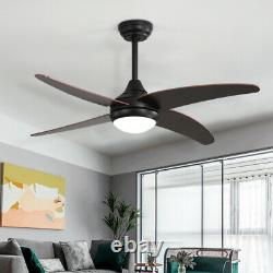 48 Walnut Wood Blades Ceiling Fan with Light Remote Control/3 Color LED/3 Speed
