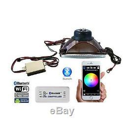4X6 BLUETOOTH Color Change RGB SMD LED Halo Angel Eye Headlight Light Bulb Pair
