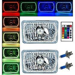 4X6 Color Change RGB SMD LED Halo Angel Eye Headlight Halogen Light Bulbs Set