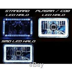 4X6 RGB COB Color Changing Halo Headlight 6K LED H4 Light Bulb Headlamp Set