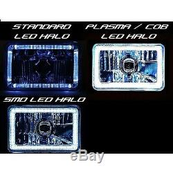4X6 RGB LED COB Color Change Halo Crystal Headlight H4 6K HID Light Bulb Pair