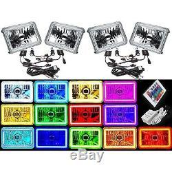 4X6 RGB LED COB Color Change Halo Crystal Headlight H4 6K HID Light Bulb Set