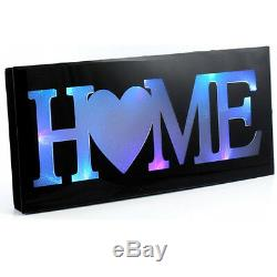 50cm Black Home Led Colour Changing Glass Plaque Gift Mantel Wall Mountable New