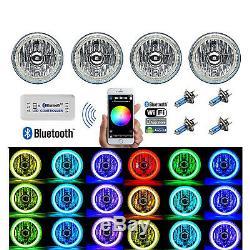 5-3/4 Bluetooth Cell Phone RGB SMD Color Change LED Halo Angel Eye Headlight Set