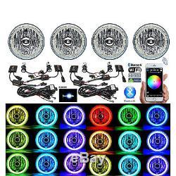 5-3/4 Bluetooth RGB SMD LED Color Change Halo Angel Eye 6000K HID Headlights Set