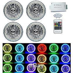 5-3/4 RF RGB SMD Color Change Halo Angel Eye Shift Headlamp LED Headlights Set