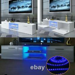 63 White Modern TV Unit Cabinet TV Stand Matt Body & High Gloss Door LED Light