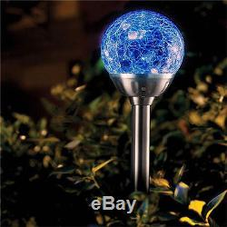 6 x STAINLESS STEEL SOLAR POWERED COLOUR CHANGING LED GLASS BALL GARDEN LIGHTS