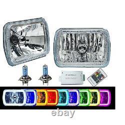 7X6 RGB COB Color Change LED Halo Angel Eye Headlights Fits Jeep Wrangler YJ XJ