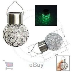 7 Color Changing LED Solar Garden Hanging Light Crackle Glass Lantern Ball UKES