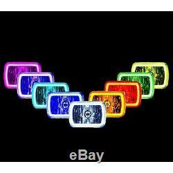 7x6 RGB COB Color Change Halo Angel Eye LED Headlights Fits JEEP WRANGLER CJ YJ