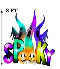 8 FT HALLOWEEN GHOST TRIO With COLOR CHANGING LIGHT AIRBLOWN INFLATABLE YARD DECOR