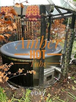 Affordable Fibreglass Wooden Hot Tub Hydro Bubbles + Led, Wood Fired