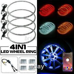 Autoleader 4PCS 17'' Dual Sided 648 LED RGB Car Wheel Ring Light Rim Strip APP