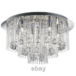 Beatrix Chrome Blue LED Ceiling Light Fitting Interior Lighting Crystal Drops