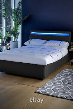 Black Faux Leather Bed Frame Colour Changing LED Lights King COLLECTION CW1
