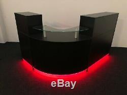 Black Reception Desk With Led Lights Remote Control Colour Changing Glass Shelf