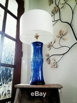 Blue glass white silk shade statement large table lamp gift idea bespoke unique