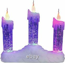 Christmas Battery Colour Changing Window Fire LED Flickering Water Candle Bridge