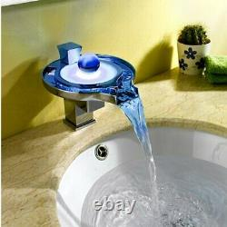 Chrome LED Waterfall Colors Changing Bathroom Basin Mixer Sink Faucet HDD727