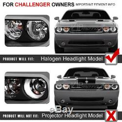 Color Changing LED Low Beam 08-14 Dodge Challenger CCFL ANGEL EYE Headlights