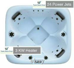 Deluxe 4 Person Hot Tub Colour Changing LED Lights 24 Jets Ready 34Amp