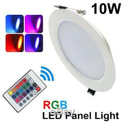 Dimmable RGB Recessed LED Panel Lamp 10W Ceiling Down Light Bulb with IR Remote