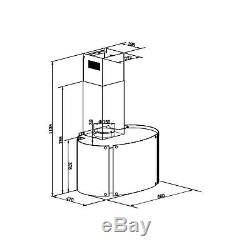 ElectriQ Glass Oval LED Colour Changing Designer Chimney Extractor Cooker Hood