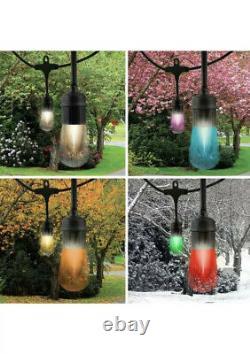 Enbrighten Seasons Color-Changing Vintage LED Cafe Lights, 24 Bulbs, 48ft. Black