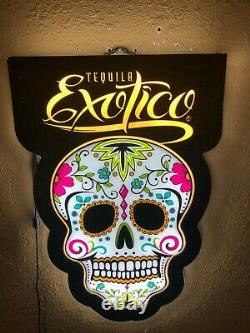 Exotico Tequila Led Sign Man Cave Garage Decor Light Sugar Skull Color Changing