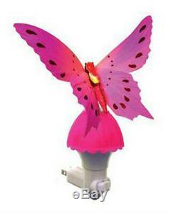 Fiber Optic Butterfly LED Color Change Night Light Lamp Pink