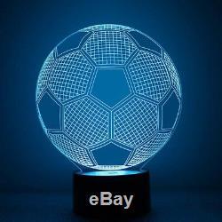 Football LED 3D Illuminated Table Light Desk Micro USB Lamp Night 7 Color Change