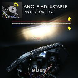 For 06-08 Bmw E90 3-series Black Led 3d Rgb Color Change Angel Eyes Headlight