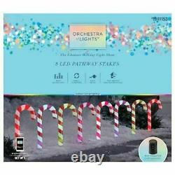 Gemmy Orchestra of Lights 8 Color Changing Candy Cane Christmas Pathway Markers