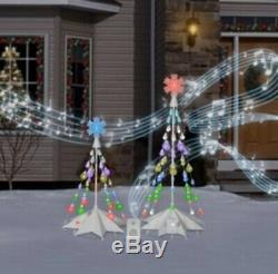 Gemmy Orchestra of Lights TWO Christmas Tree Color Changing LED Lights w Speaker